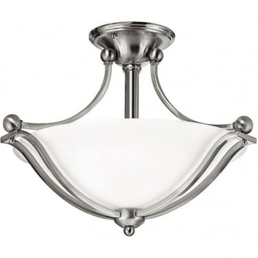 Bolla Semi Flush Fitting Brushed Nickel