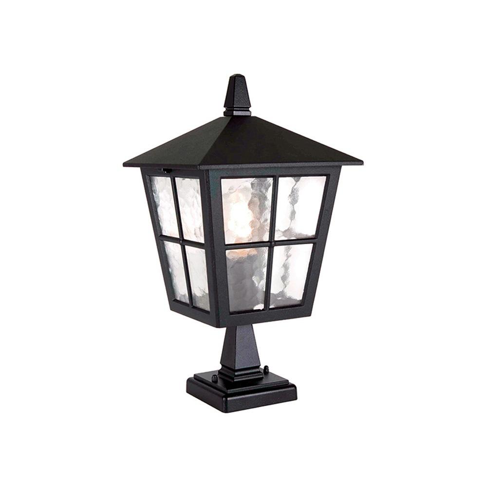 Bedfords Medium Pedestal Lantern In Black: Elstead Lighting Elstead Lighting Canterbury Pedestal