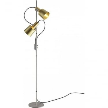 CHESTER FloorLight - Double Head - satin brass with stainless steel