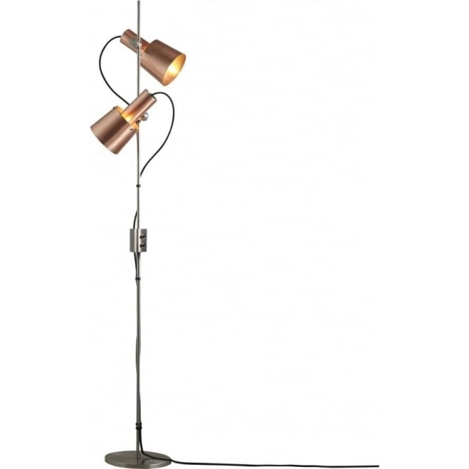 Original BTC Lighting CHESTER FloorLight - Double Head - satin copper with stainless steel