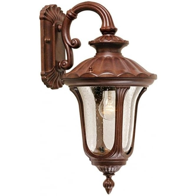 Elstead Lighting Chicago Wall Down Lantern Small - Rusty Bronze