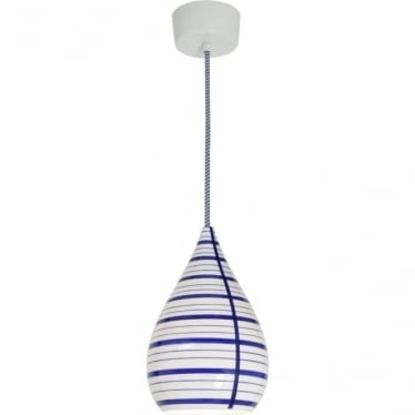 Circle line drop pendant light - Blue/white