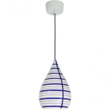 Circle line drop pendant light - Blue/white