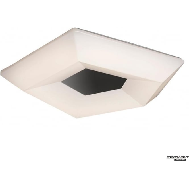 Mantra City Single LED Large Flush Ceiling Fitting in White/Chrome