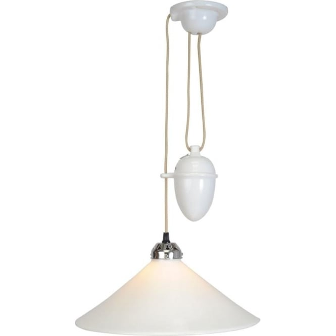 Original BTC Lighting Cobb Rise and Fall Pendant Light - Large - white