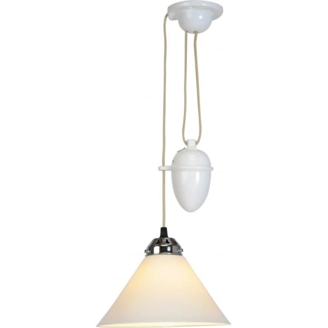 Original BTC Lighting Cobb Rise and Fall Pendant Light - small - white