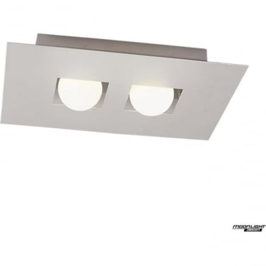 Cocoon 2 Light Flush Ceiling Fitting Silver