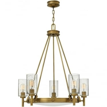 Collier 5 Light Chandelier Heritage Brass