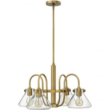 Congress Clear Glass Chandelier Brushed Caramel