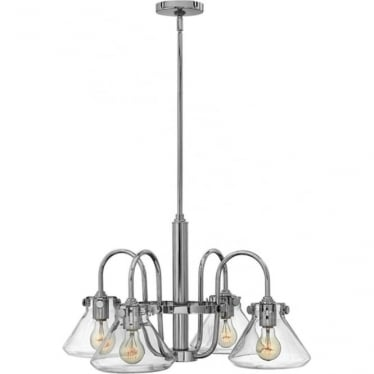 Congress Clear Glass Chandelier Chrome