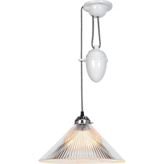 Original BTC Lighting Coolie prismatic rise and fall pendant light