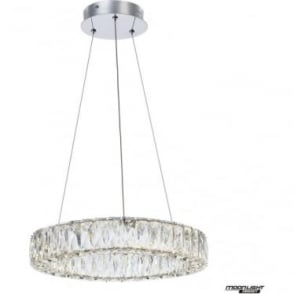 Crystal Ring Small Pendant Chrome Dimmable