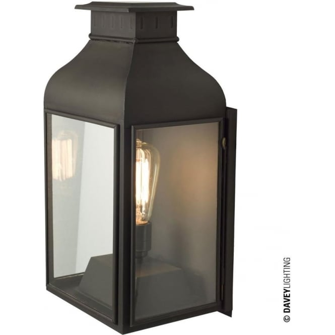 Davey Lighting 0276 Wall Lantern, Weathered Brass, Clear Glass