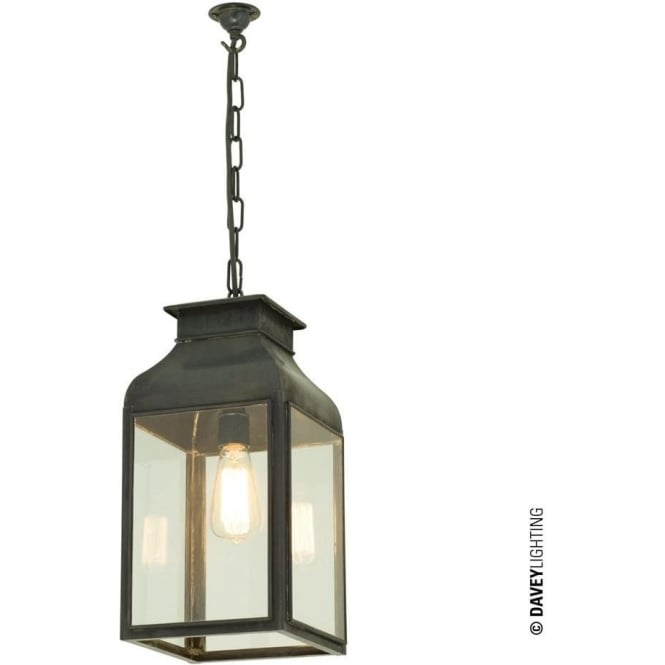 Davey Lighting 0277 Lantern, Weathered Brass, Clear Glass