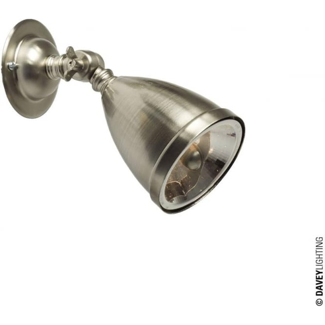 Davey Lighting 0761 Adjustable Spotlight with Shade & Lamp, Nickel Plated - Low Voltage