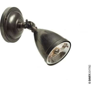 0762 Adjustable Low Voltage Spotlight with Shade, Transformer & Lamp, Weathered Brass