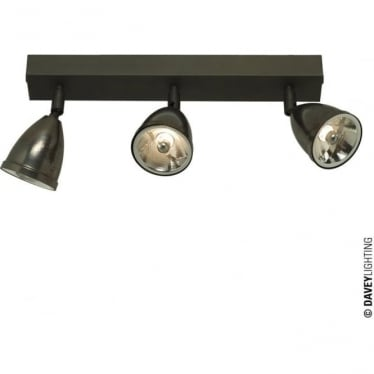 0765 Triple Spotlights with Shade, Transformer, Weathered Brass