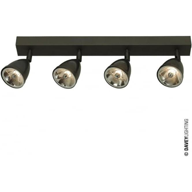 Davey Lighting 0766 Quadruple Spotlight with Shade, Weathered Brass, Mains