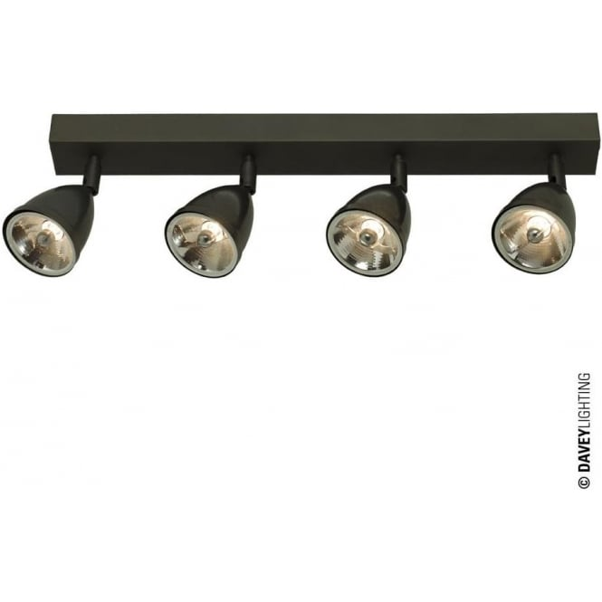 Davey Lighting 0766 Quadruple Spotlights with Shade, Transformer, Weathered Brass