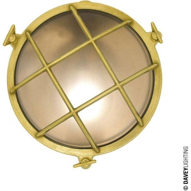 Davey Lighting 7028 Brass Bulkhead with internal fixing (Diameter 190mm) Polished Brass