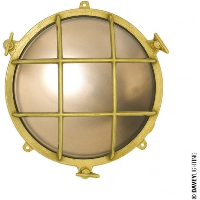 Davey Lighting 7030 Brass bulkhead with external fixing feet (Diameter 185mm) Polished Brass