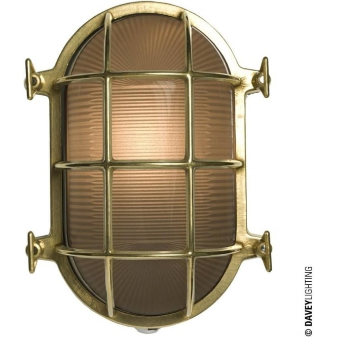 Davey Lighting 7034 Oval brass bulkhead with internal fixing points, Polished Brass, Large
