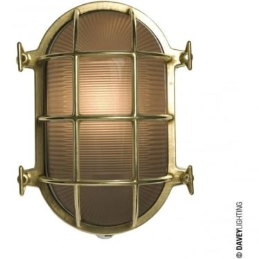 7035 Oval brass bulkhead with internal fixing points, Polished Brass, Medium