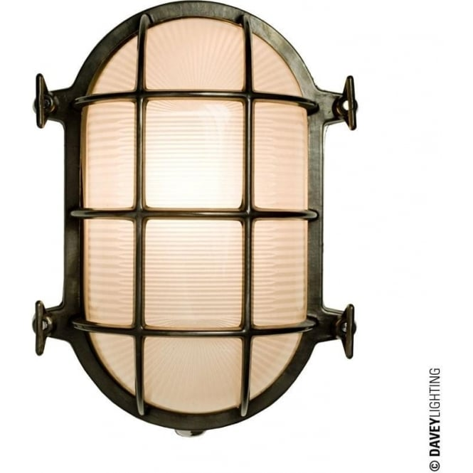 Davey Lighting 7035 Oval brass bulkhead with internal fixing points, Weathered Brass, Medium