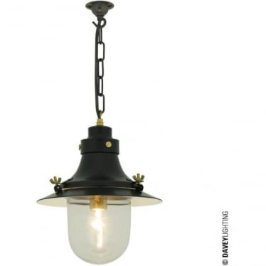 7125 Ship's small decklight Pendant, Black, Clear Glass