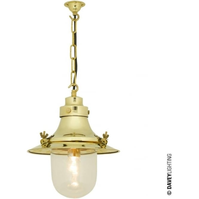 Davey Lighting 7125 Ship's small decklight Pendant, polished Brass, Clear Glass