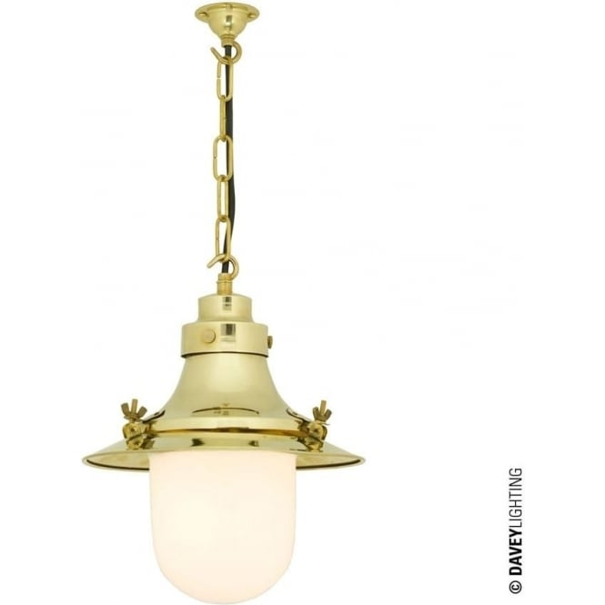 Davey Lighting 7125 Ship's small decklight Pendant, Polished Brass, Opal Glass