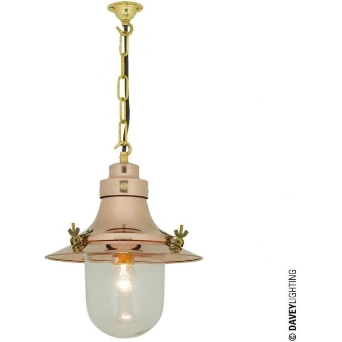 Davey Lighting 7125 Ship's small decklight Pendant, Polished Copper, Clear Glass