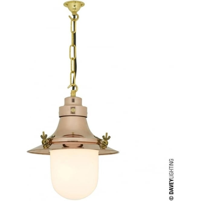 Davey Lighting 7125 Ship's small decklight Pendant, Polished Copper, Opal Glass