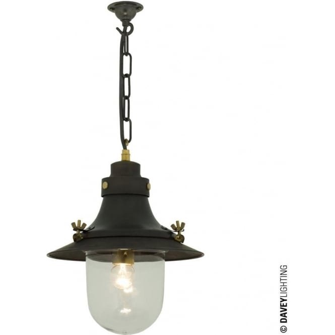 Davey Lighting 7125 Ship's small decklight Pendant, Weathered Copper, Clear Glass