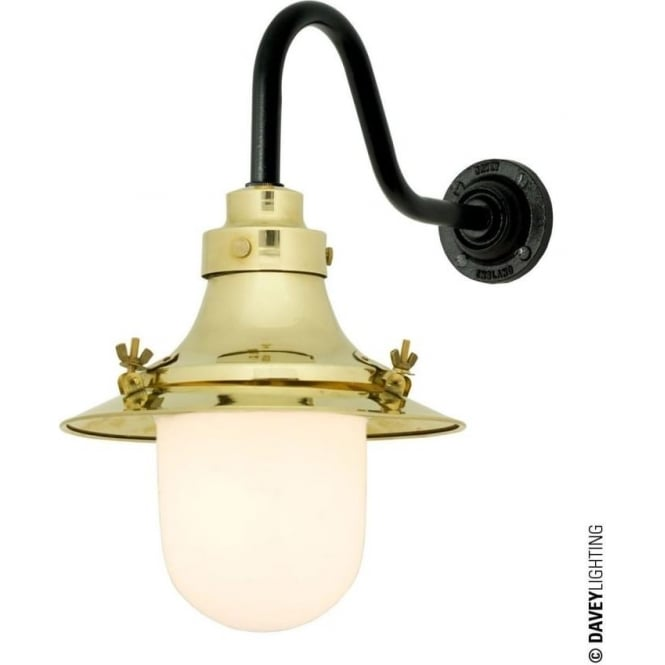 Davey Lighting 7125 Ship's small decklight, Polished Brass, Opal Glass