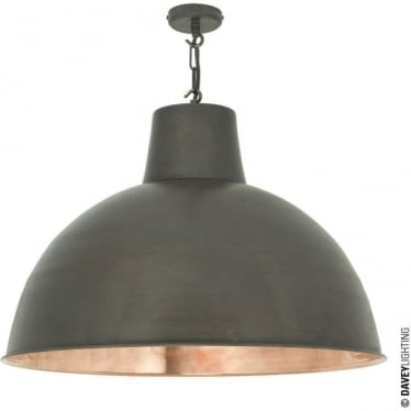 7163 Spun Reflector, Large, Weathered/Polished Copper Interior