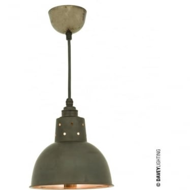 7165 Spun Reflector, Small, Cord Grip Lamp holder, Weathered Copper, Polished Copper Interior