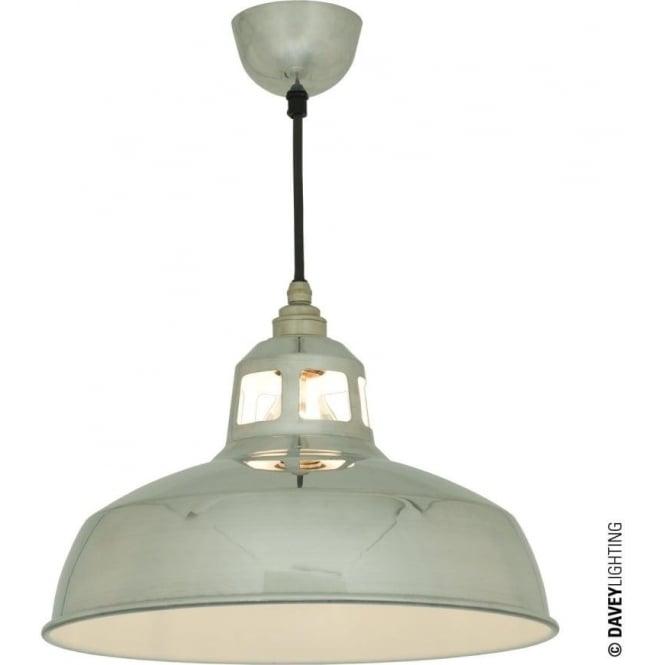 Davey Lighting 7199 Aluminium Punch Pendant Polished Aluminium, White Interior