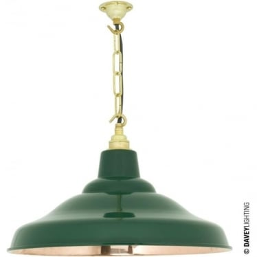 7200 School Light, Painted Green, Polished Copper Interior