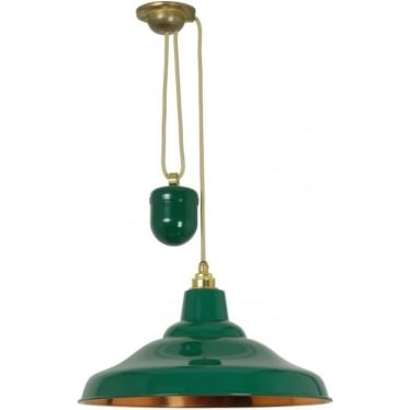 7200 School Light Rise & Fall, Painted Green, Polished Copper Interior