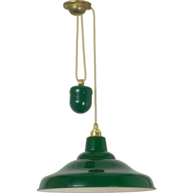 Davey Lighting 7200 School Light Rise & Fall, Painted Green, White Interior