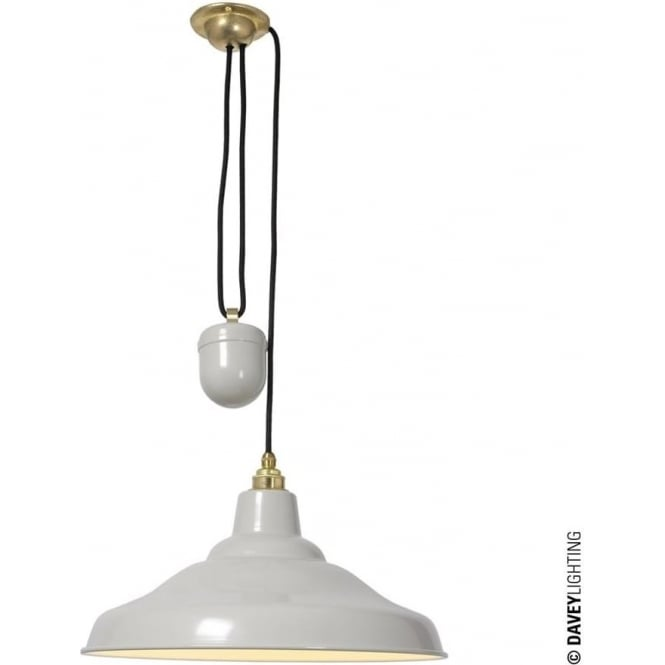 Davey Lighting 7200 School Light Rise & Fall, Painted Putty Grey, White Interior
