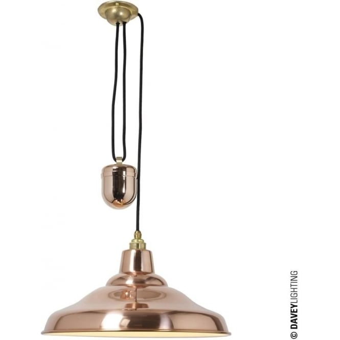 Davey Lighting 7200 School Light Rise & Fall, Polished Copper