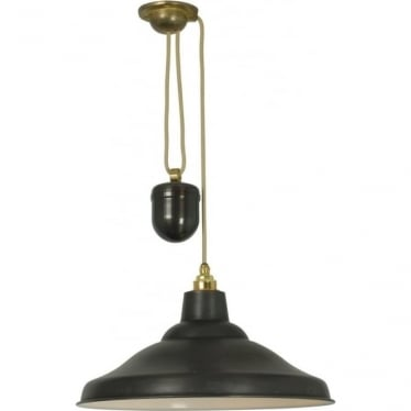 7200 School Light Rise & Fall, Weathered Copper, White Interior