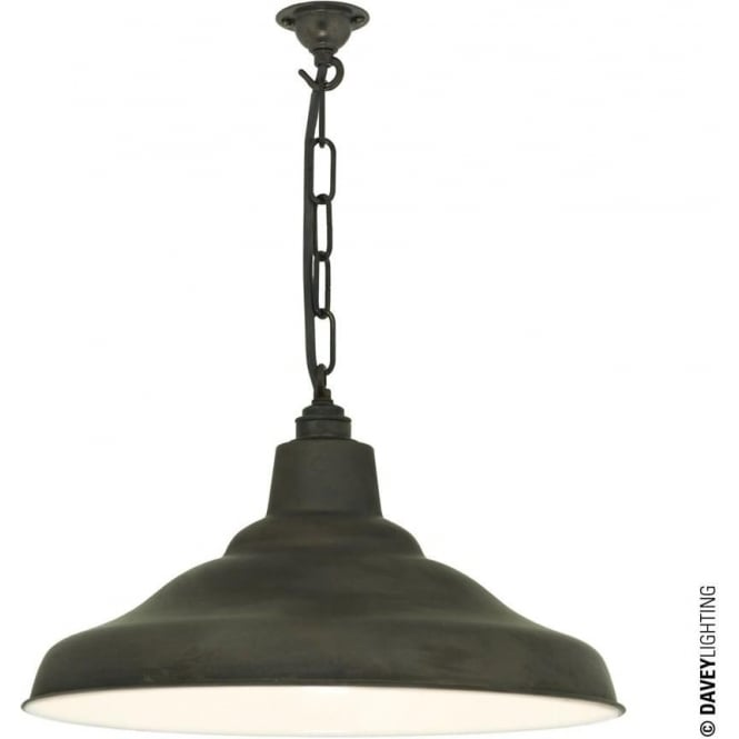 Davey Lighting 7200 School Light, Weathered Copper, White Interior