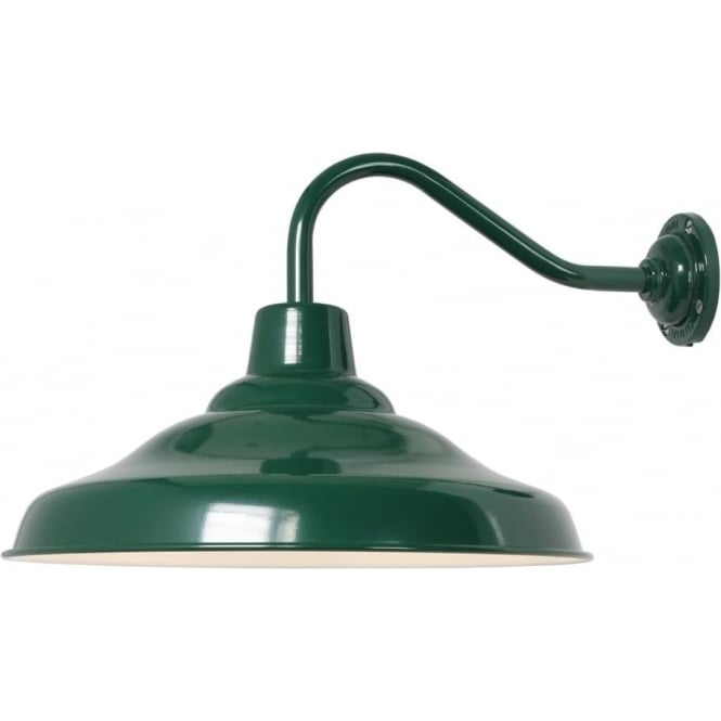 Davey Lighting 7200 School Wall Light, Painted Green,  White interior