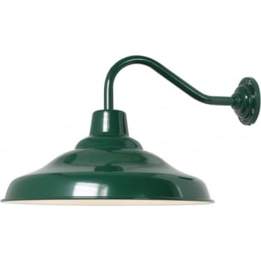7200 School Wall Light, Painted Green, White interior