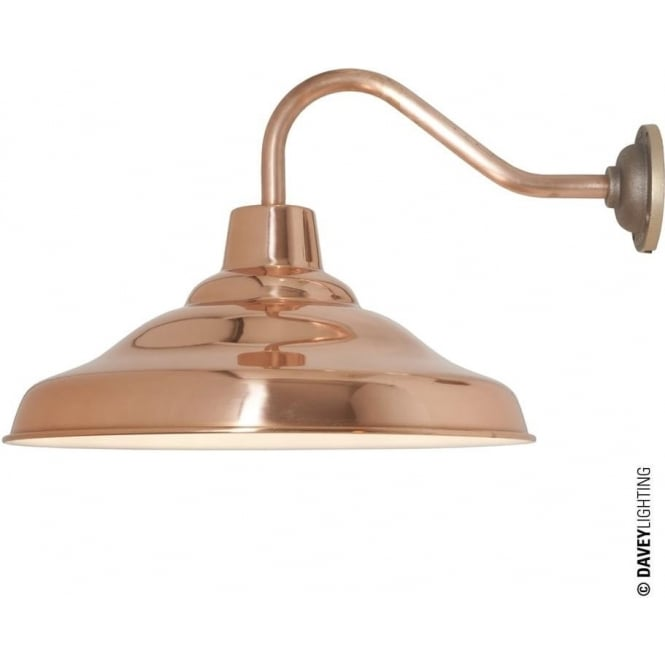 Davey Lighting 7200 School Wall Light, Polished Copper, White interior