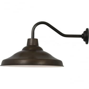7200 School Wall Light, Weathered Copper, White interior