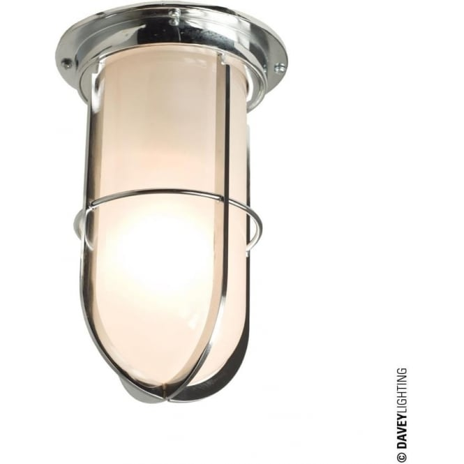 Davey Lighting 7203 Ship's campanionway light & Guard, Chrome plated, Frosted glass